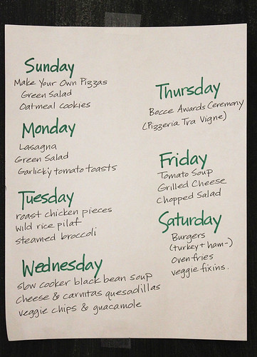 Meal plan, week of Feb 17
