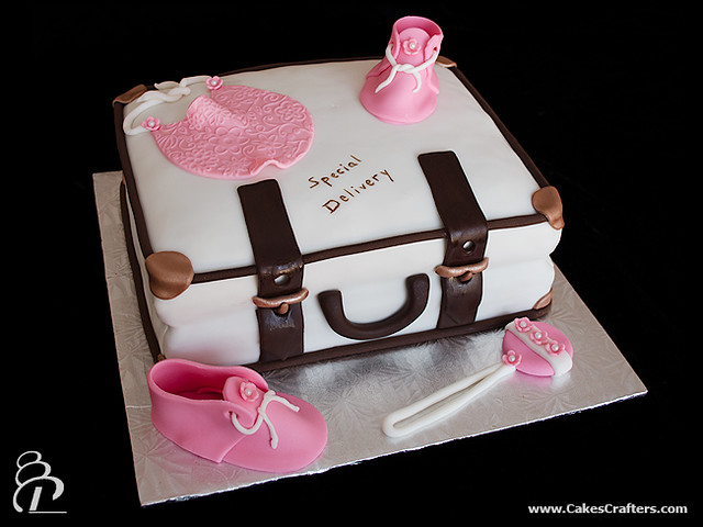 Travel Suitcase Baby Shower Cake