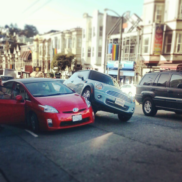 A Mini Cooper getting rambunctious outside the Castro Theatre this past Friday. (credit: Shockingly Tasty