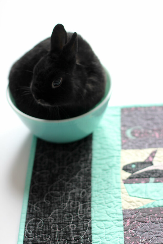 Bunny in a Bowl Mini Quilt by Jacey