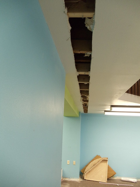 Ceiling of kids room, opened for camera wiring.