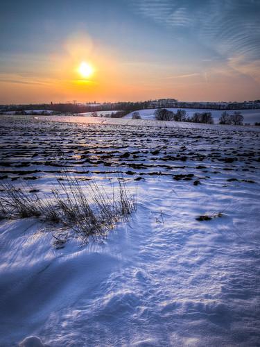 winter sunset sky sun snow field wisconsin rural pen evening farm olympus monroe hdr photomatix greencounty tonemapped 2013 epl2 lightroom4