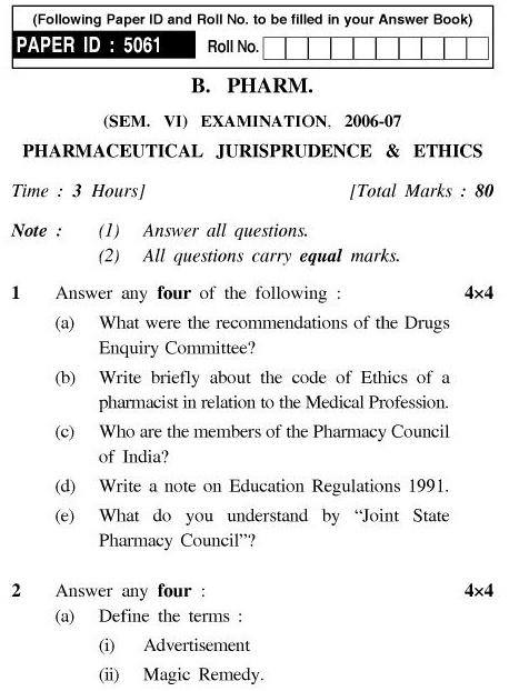 UPTU B.Pharm Question Papers PH-365 - Pharmaceutical Jurisprudence & Ethics