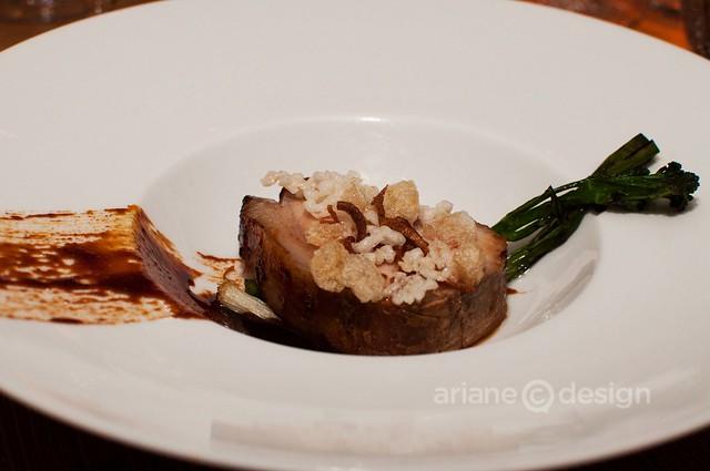 Shangri-La BBQ pork, grilled broccolini, puff rice, pork crackling