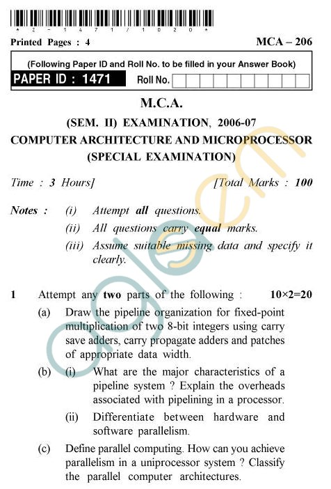 UPTU MCA Question Papers - MCA-206 - Computer Architecture & Microprocessor (Special Examination)