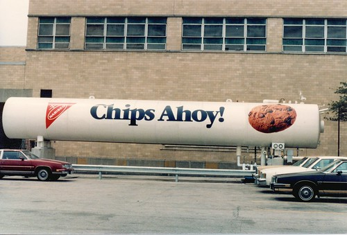 Chips Ahoy cookie advertisement on an exterior tank at the Nabisco factory.  Chicago Illinois. June 1984. by Eddie from Chicago