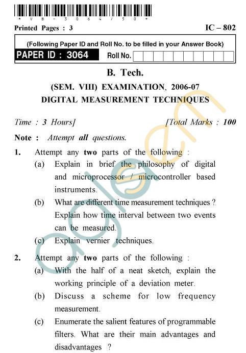 UPTU B.Tech Question Papers -IC-802 - Digital Measurement Techniques
