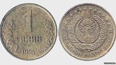 Uzbekistan one-tiyin coin