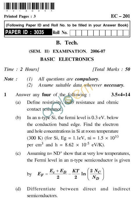 UPTU B.Tech Question Papers - EC-201-Basic Electronics