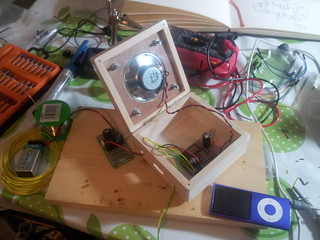 Speaker and circuit inside box