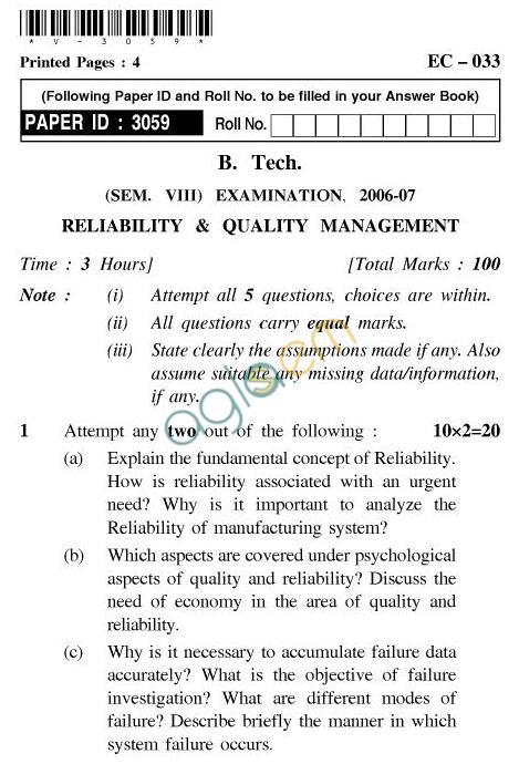 UPTU B.Tech Question Papers -EC-033-Reliability & Quality Management