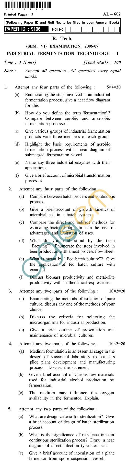 UPTU B.Tech Question Papers -AL-602 - Industrial Fermentation Technology-I