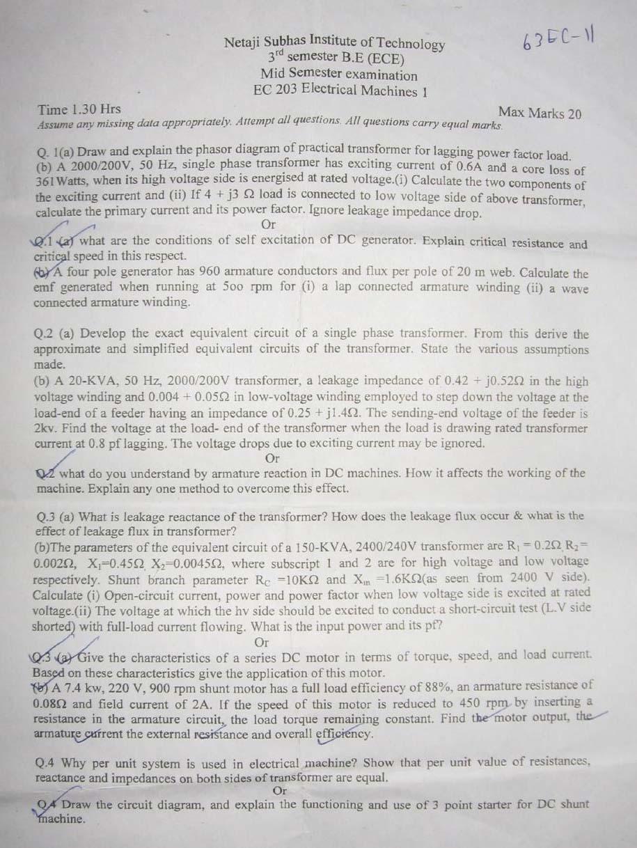 NSIT Question Papers 2012 – 3 Semester - Mid Sem - EC-203