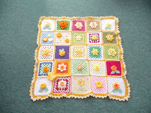 Thanks to everyone who sent in Squares for this Blanket. Gorgeous!