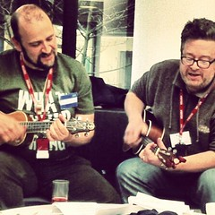 The #ukgc13 ukulele boys caught in action by @nettienoodles - Steady Eddie @pseudograph & Soggy Bottom @lloyddavis