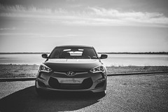 automobile, automotive exterior, hyundai, wheel, vehicle, automotive design, mid-size car, monochrome photography, hyundai veloster, land vehicle, monochrome, black-and-white,