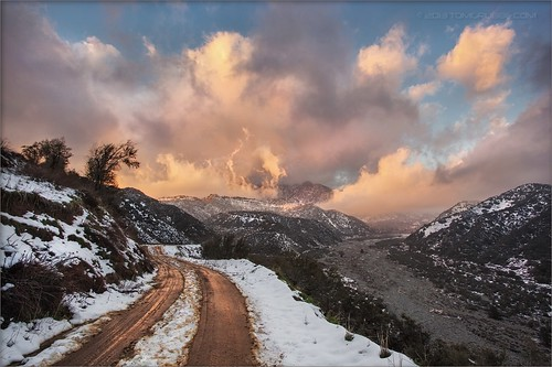 road snow mountains clouds landscape hills southerncalifornia banning inlandempire sangorgonio