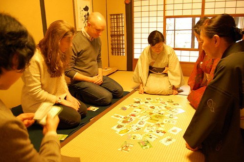 Karuta play for learning the Way of Tea