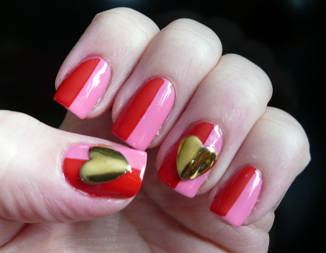 pink red large heart stud mani 3