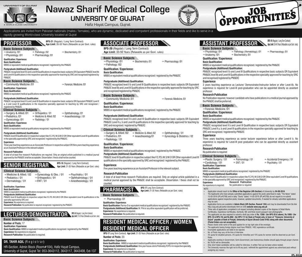 Nawaz Sharif Medical College University of Gujrat Jobs Teaching and Medical