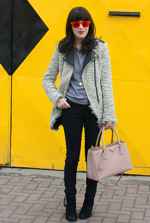 prada bag, italia independent sunglasses, biker jacket, בלוג אופנה, תיק פראדה, תיקי מעצבים