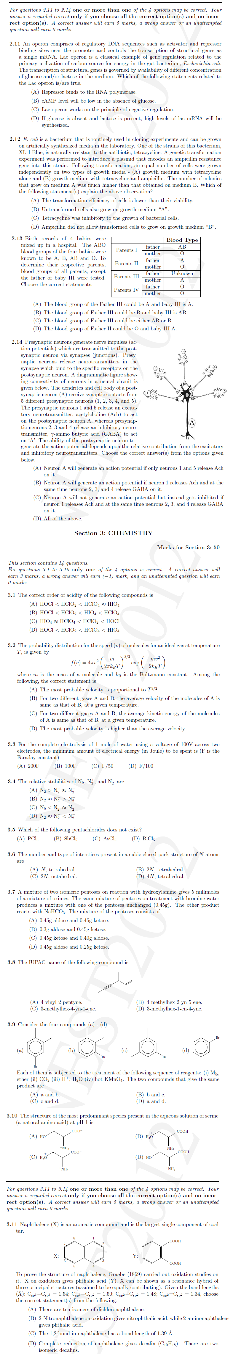NEST 2012 Question Paper