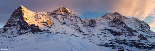 sunset panorama mountain snow mountains alps landscape switzerland alpine 31 eiger jungfrau mönch berneroberland kleinescheidegg stephanna