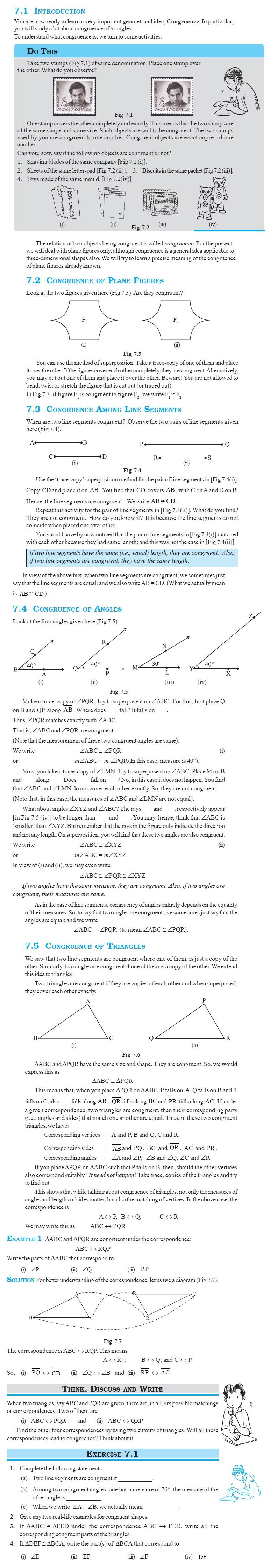 NCERT Class VII Maths Chapter 7 Congruence of Triangles