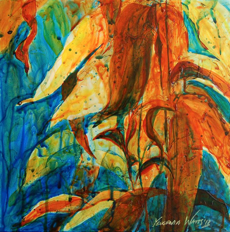 underwater kelp painting acrylic