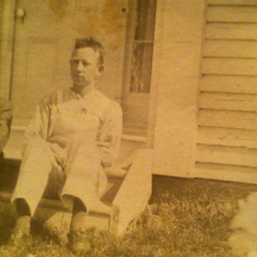 Alex's grandfather, Oscar at the front of the homestead #maine #vintagemaine