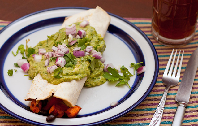 Sweet Potato Burritos with Avocado Salsa Verde