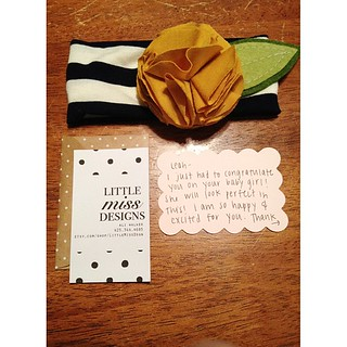 Well, this at least made my day: a sweet headband for Baby Sweets! Ali at Little Miss Designs even included an adorable thank you note.