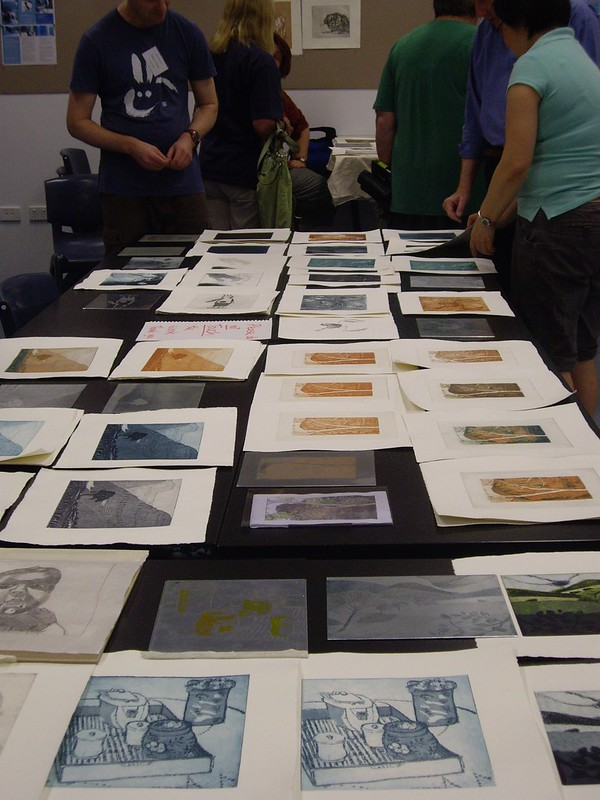 Etching work by students