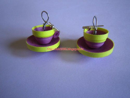 Handmade Jewelry - Paper Quilled Cup Saucer Earrings (Pink & Yellow) by fah2305