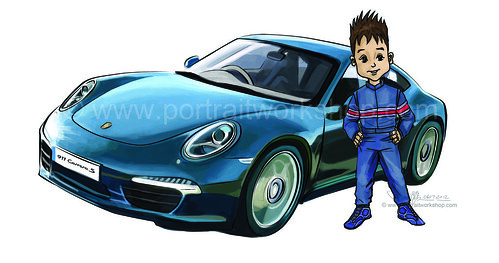 Porsche 911 artwork - colour + boy (watermarked)