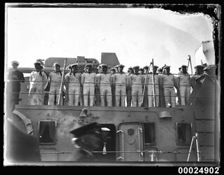 German seamen standing at ease on deck of KOLN