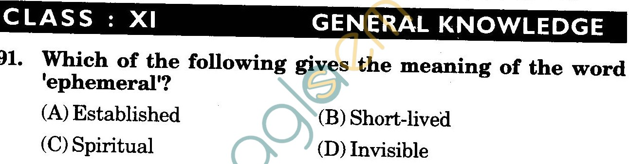 NSTSE 2009 Class XI PCM Question Paper with Answers - General Knowledge