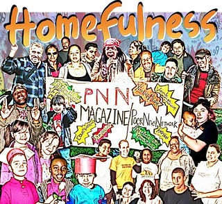 A collage of people involved with POOR and Homefulness. People surround a banner that reads PNN Magazine/Poor News Network