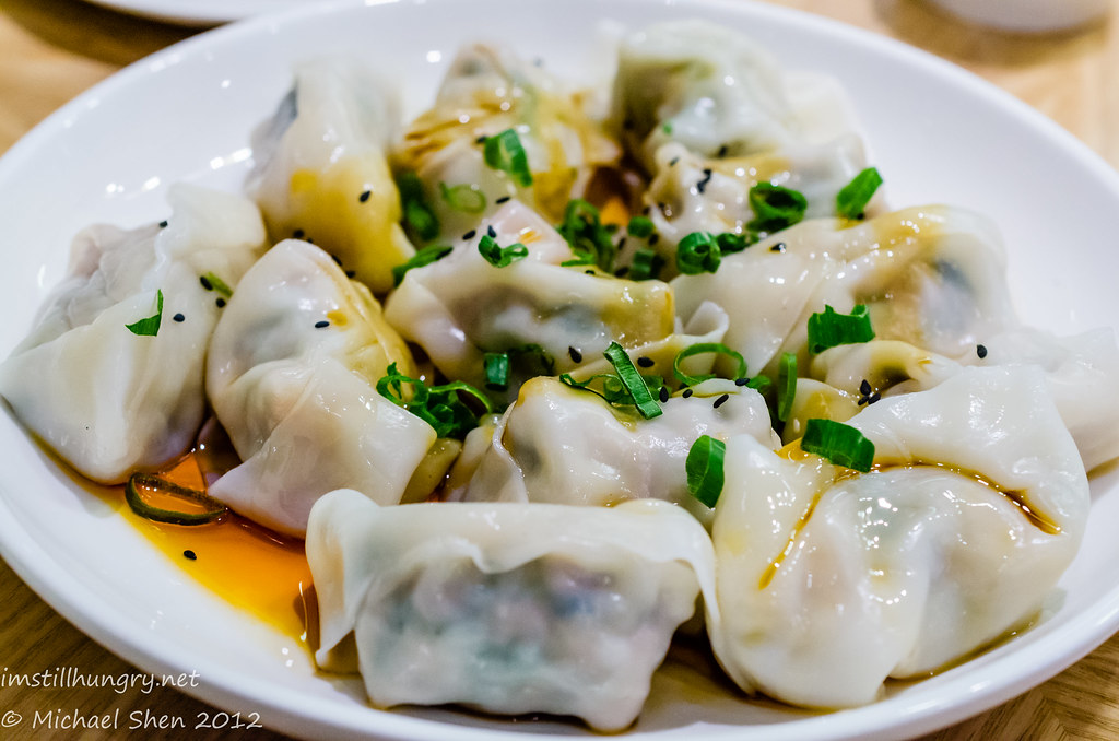 Taste of Shanghai Poached pork dumplings in chilli oil