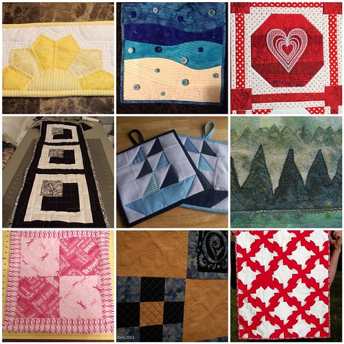 9 quilts created for the Project QUILTING, My Favorite Color Challenge