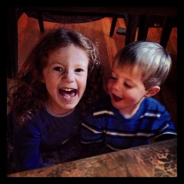 Bc sometimes the best thing in the world is just to play under the dining room table w your sibling. #siblings #kids #happy