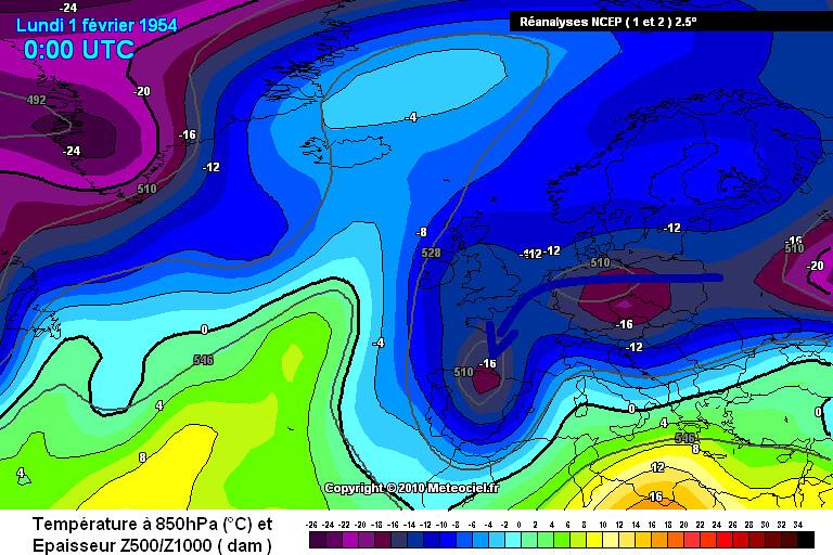 carte des masses d'air du froid vif du 1er février 1954 météopassion