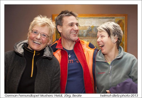 German Femundlopet Mushers: Heidi Vogel, Jörg Pohmer, Beate Jähnig. helmut-dietz-sleddog-photo-2013