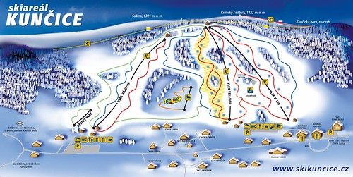 Kunčice - mapa sjezdovek