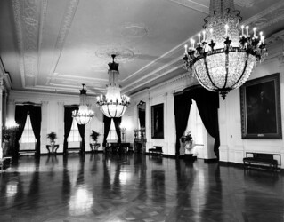 White House East Room, Portraits of George and Martha Washington, 11/1947