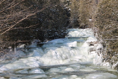 cold ice water creek falls flowing tumbling