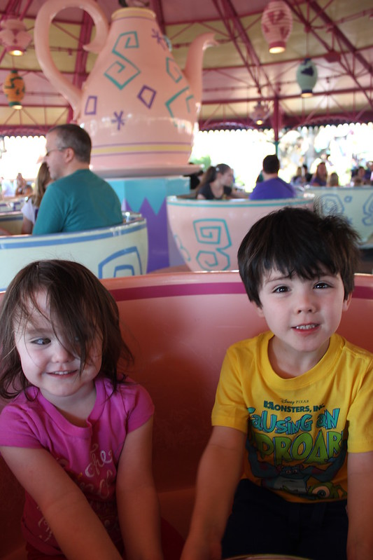 Riding the teacups at Disney World