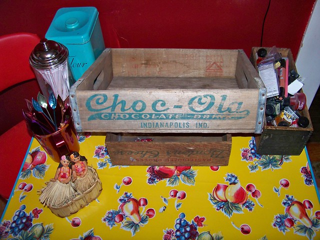 My wife found this old Choc-Ola crate for our kitchen.  My uncle used to drive for them, and this makes me remember being 4 or 5 or so and getting to sit up in his big brown semi.<br />
