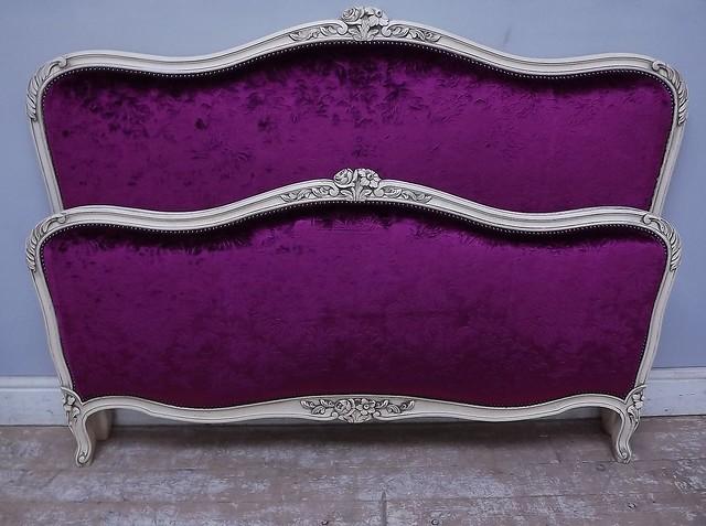 Despina Damson Vintage French Capitone Bed