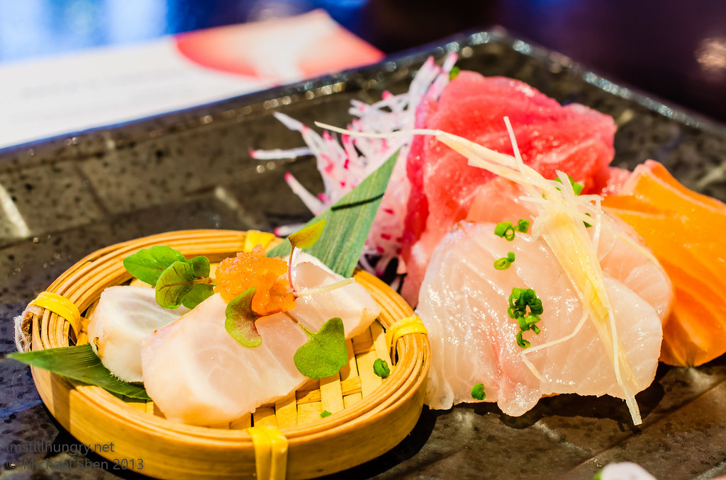 Ocean Room Raita's sashimi collection - chef's daily - Tuna, Salmon, Kingfish, Flathead
